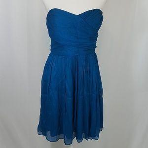 J Crew Teal Blue Strapless Dress 10